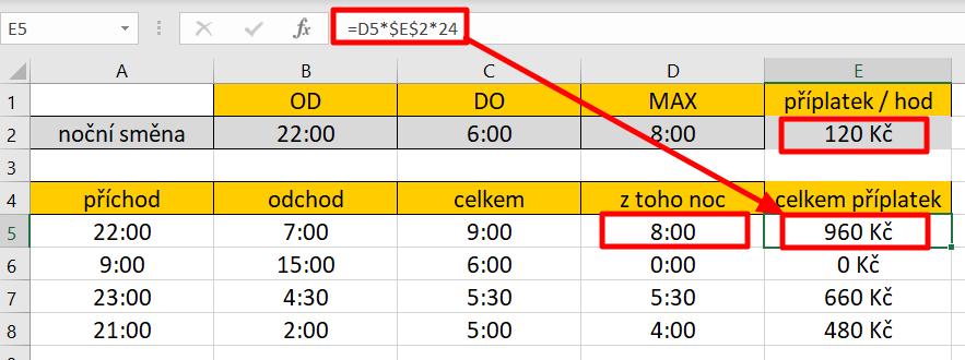 Excel - násobení časového údaje číselnou hodnotou
