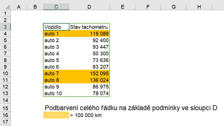 Excel - podmíněné formátování celý řádek