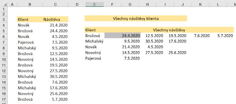 Excel - vyhledávací funkce