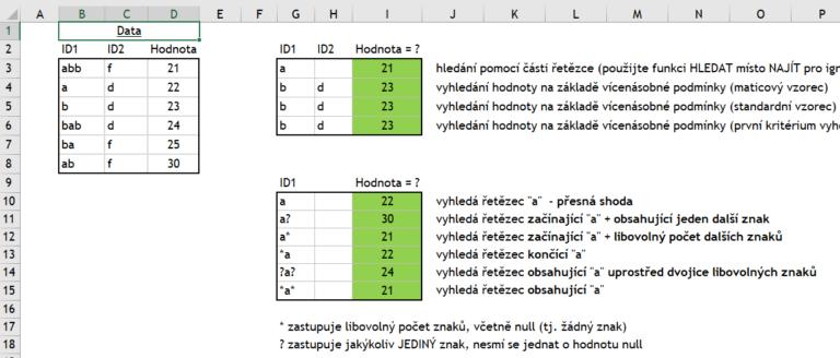 Excel - Vyhledávací funkce - Zástupné znaky