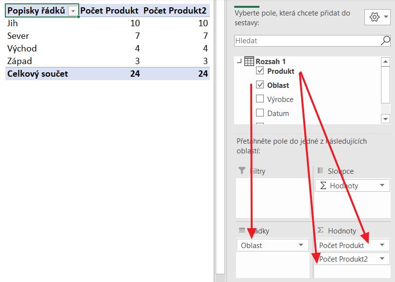 Excel - kontingenční tabulky - počet jedinečných hodnot
