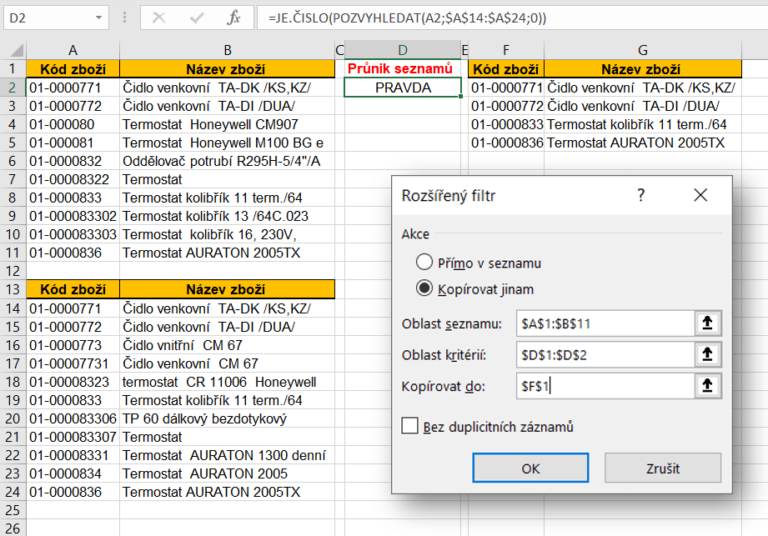Excel - porovnání seznamů