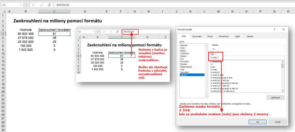 excel - formátování - pokročilé - zaokrouhlení pomocí formátu
