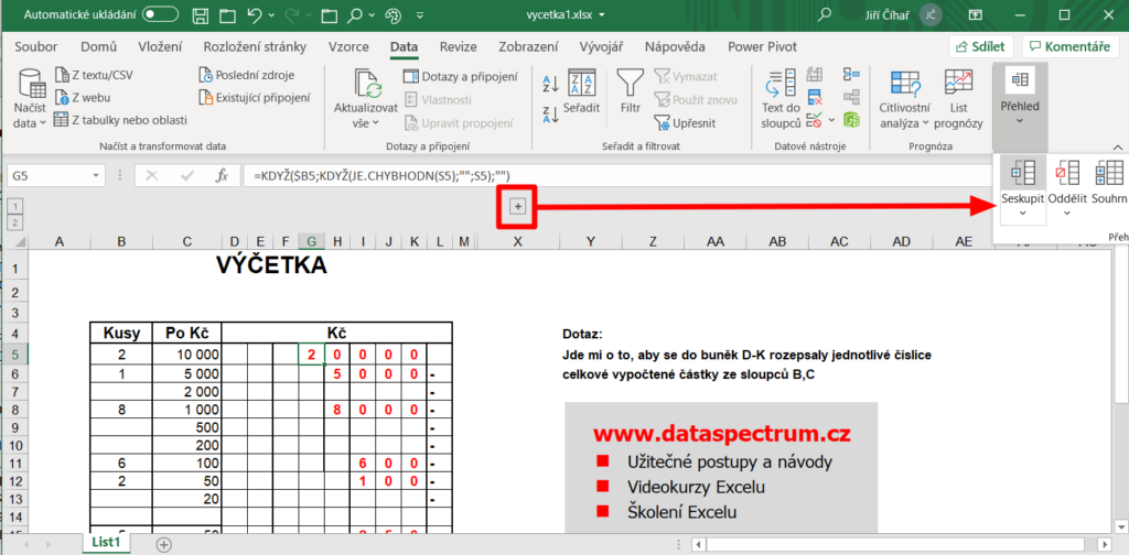 Excel - výčetka peněz